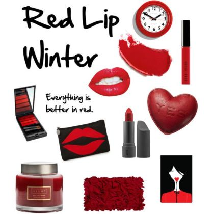 winter red lips