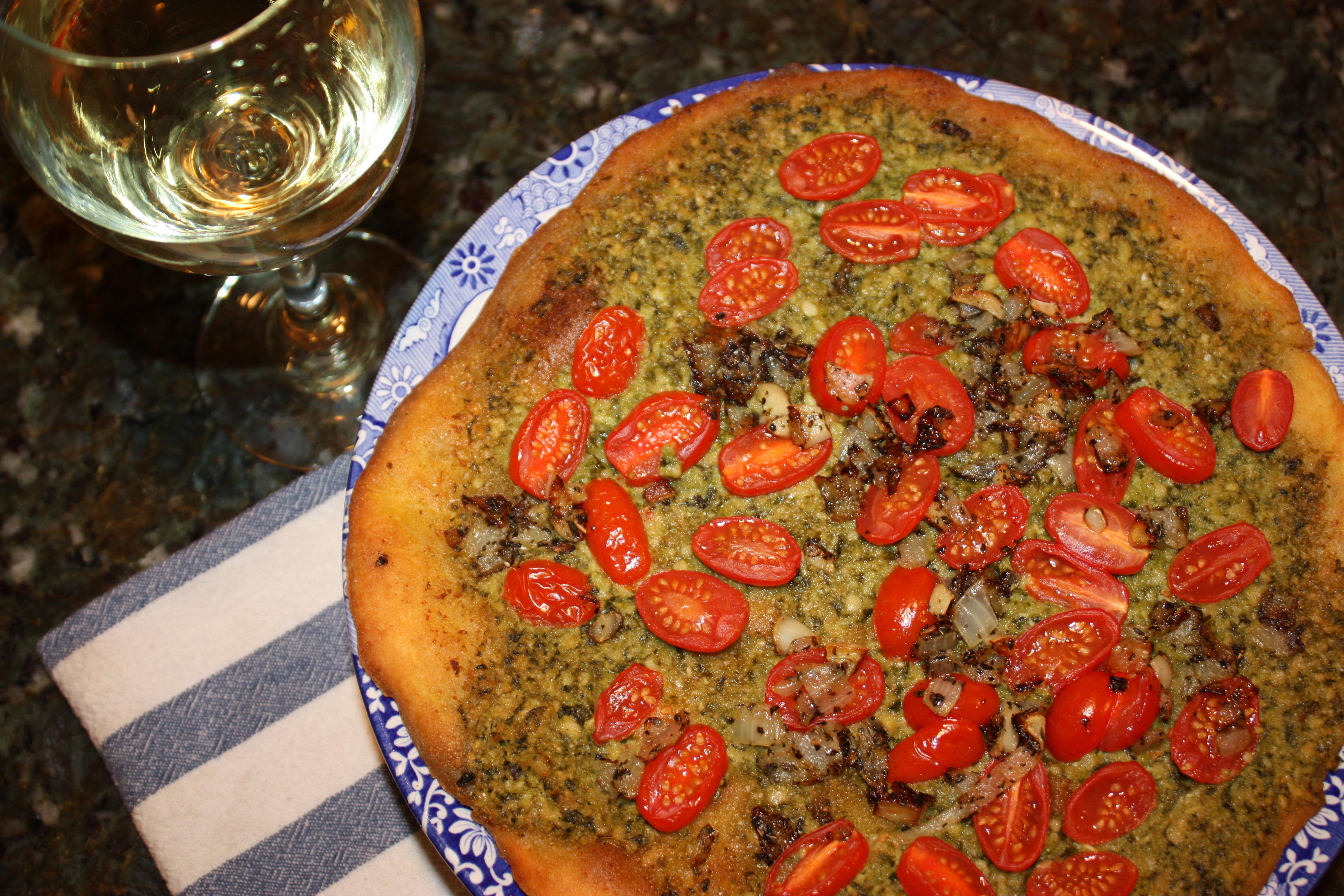 Pesto Tomato Pizza {Gluten Free, Meat Free}